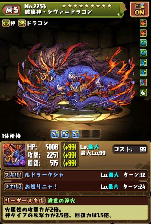破壊神・シヴァ=ドラゴンのステータス